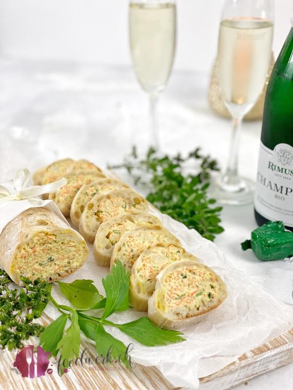 Party Brot gefüllt mit Frischkäse, Karotten und Bundzwiebeln mit Rimuss Champion Bio, der perfekte Fingerfood