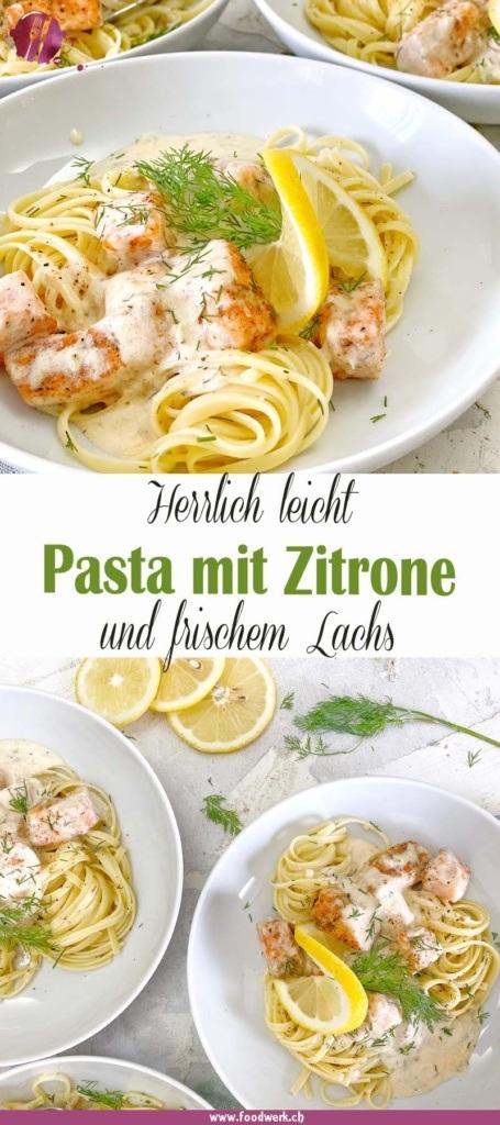 Pinterest Pin für die Pasta mit leichter Zitronensauce und Lachs