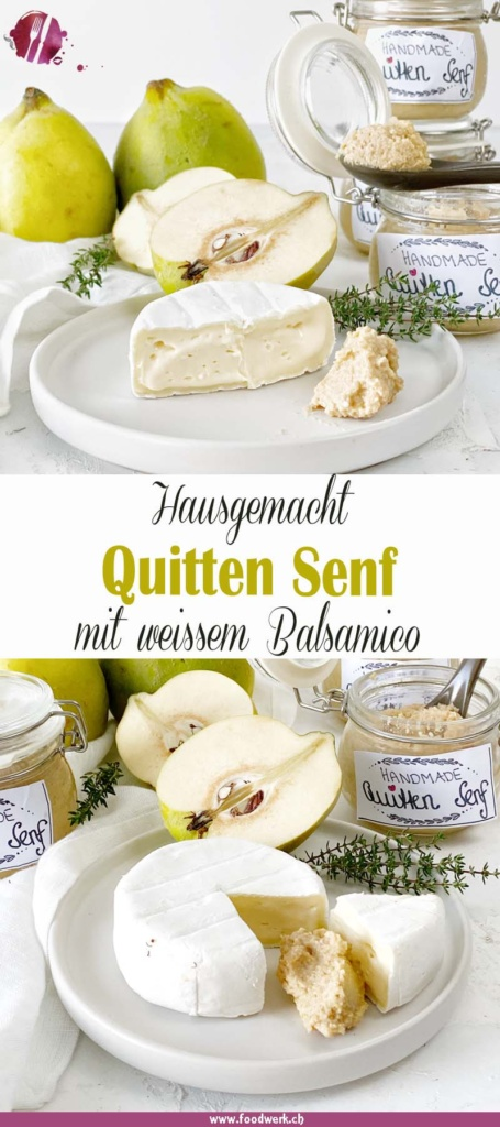 PInterest Pin für den hausgemachten Quitten Senf mit weissem Balsamico Essig