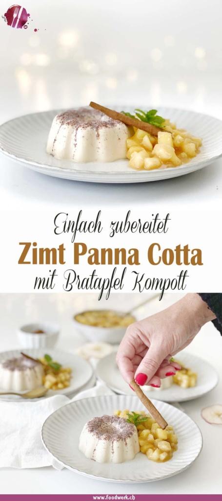 Pinterest Pin zu Zimt Panna Cotta und Bratapfelkompott