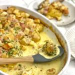 Kartoffeln foodwerk Art mit Croutons in Gratin Schale