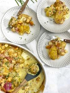 Kartoffeln Spanischer Art in Gratin Schale