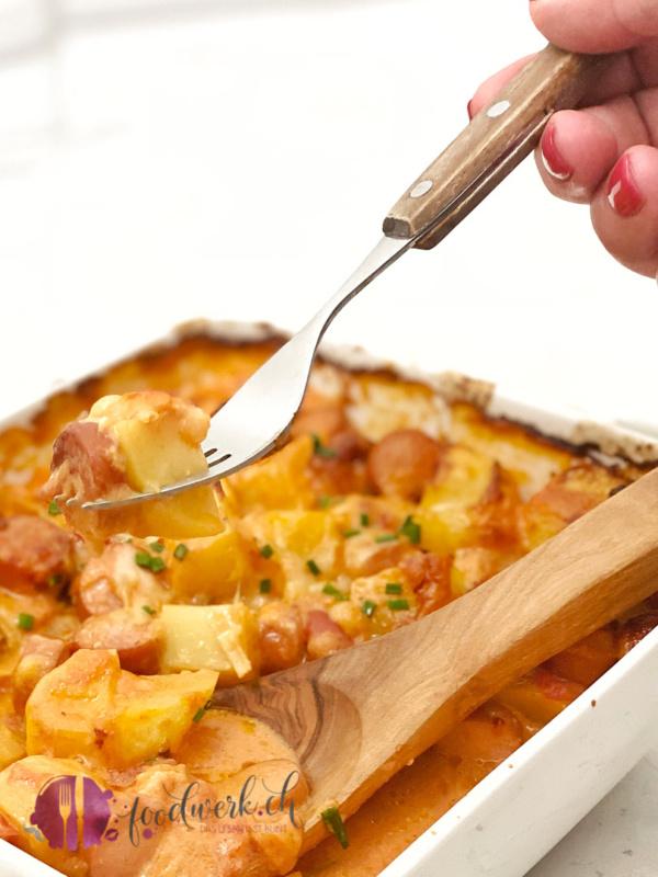 Ofen Kartoffel Eintopf auf der Gabel