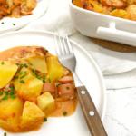 Kartoffel EIntopf aus dem Ofen mit Lauch und Wienerli