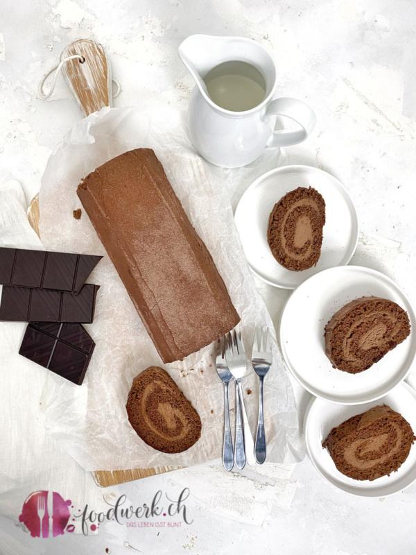 Schokoladenroulade von oben