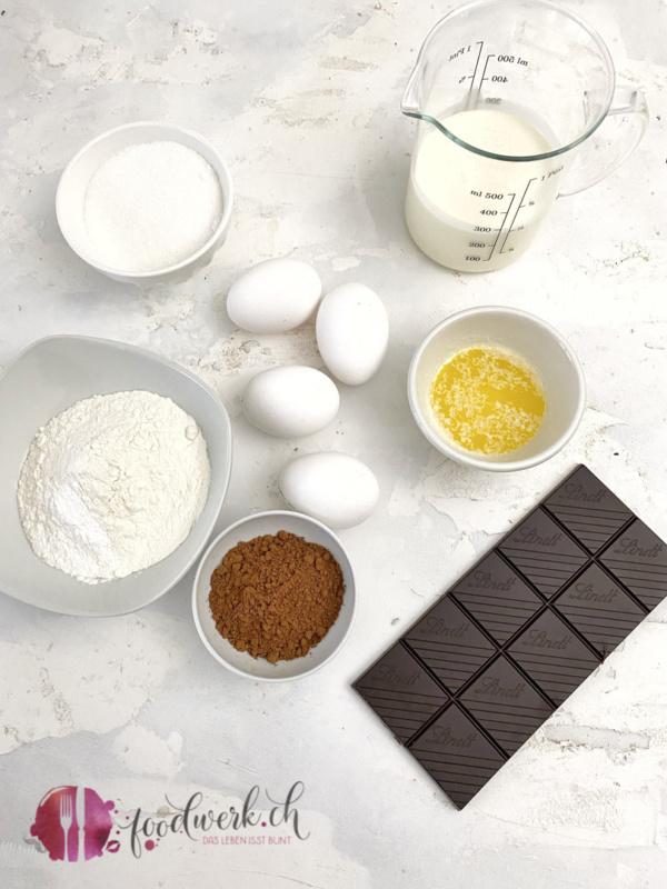 Zutaten für die Schokoladen Biskuit Roulade