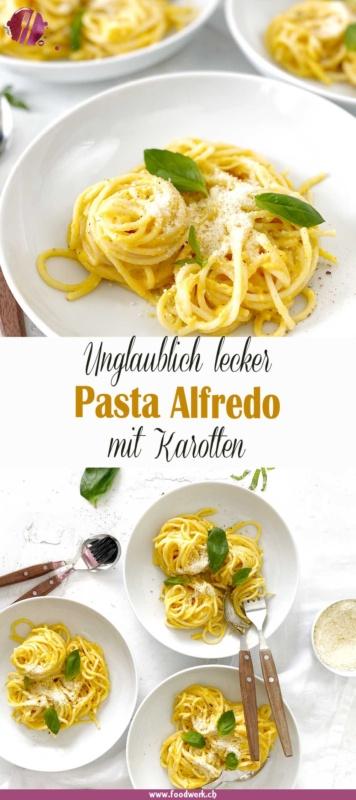Pasta Alfredo mit Karotten. Viele kennen die Pasta Alfredo mit Kürbis. Wir haben uns daher gedacht, dass dies sicher auch mit Karotten gut schmecken würde.