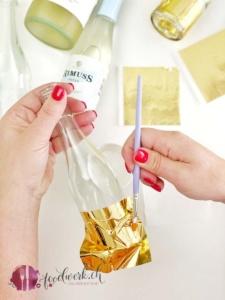 goldfolie auf rimuss fresh flasche anbringen