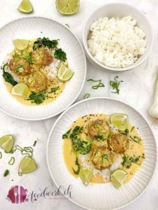 truten meatballs mit reis und curry