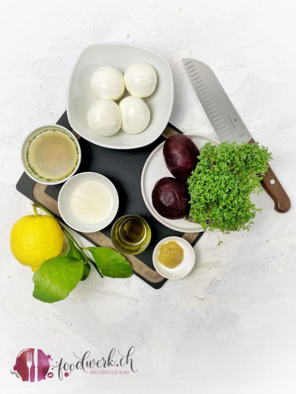Zutaten für das Randencarapccio mit Burrata und Kresse
