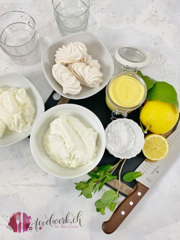 Zutaten für das Zitronen Schichtdessert