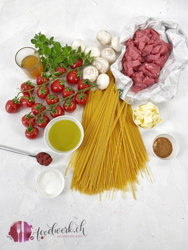 Zutaten für die Spaghetti Ticinesi