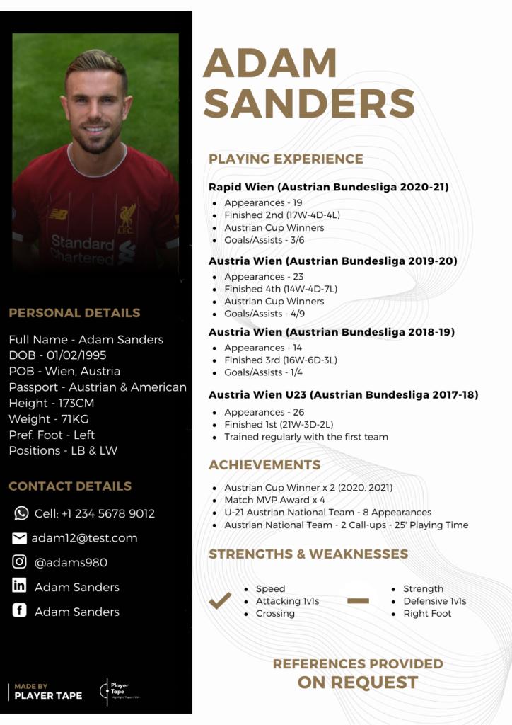 professional football CV example