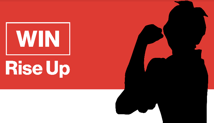Graphic of Oath WIN and Rise Up logo