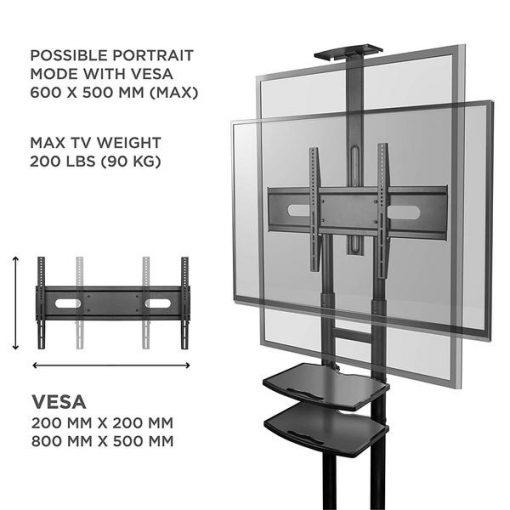 ONKRON TV Stand TV Cart TS1881-BLK