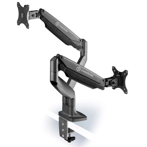 ONKRON Dual Monitor Desk Mount Stand for 23 to 32-Inch LED LCD Monitors up to 19.8 lbs G200 silver