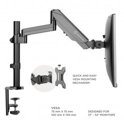 """ONKRON Dual Monitor Desk Mount Stand for 13"""" -32 Inch 17.6 lbs G140 Black"""