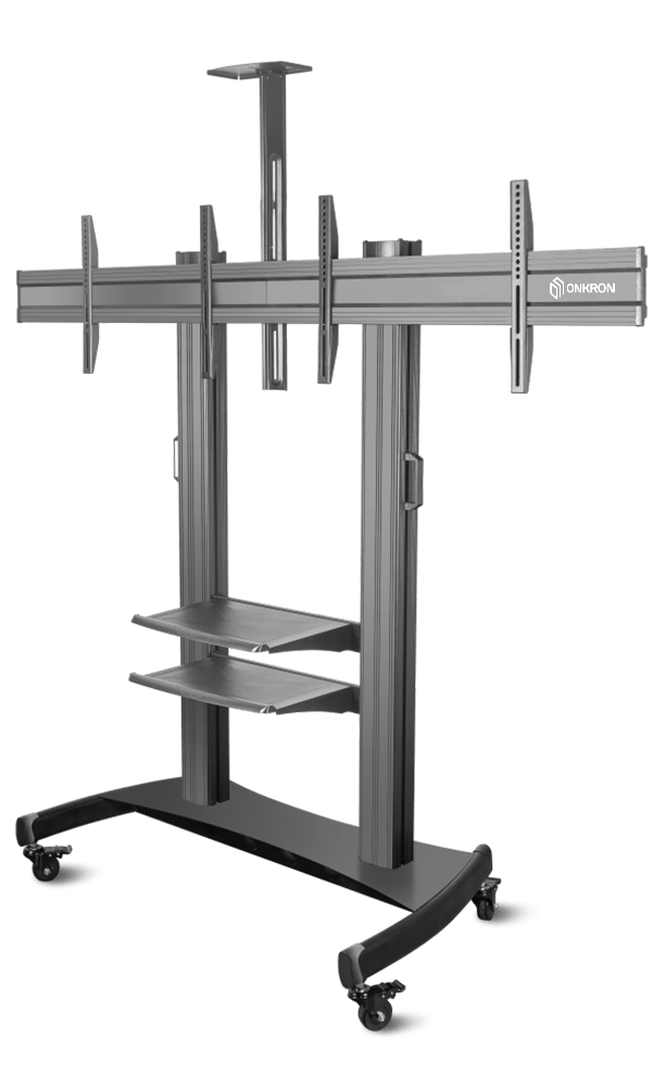 """ONKRON Mobile TV Stand Dual TV Cart with Wheels for 40"""" – 60 Inch TS3811"""