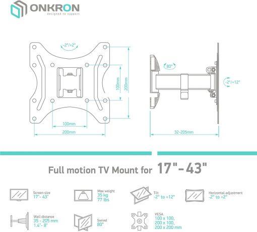 "ONKRON TV Mount for 22""-42"" up to 30 kg NP24 Black"