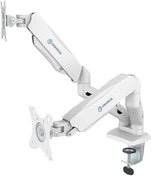 ONKRON Dual Arm Monitor Desk Mount G160 White