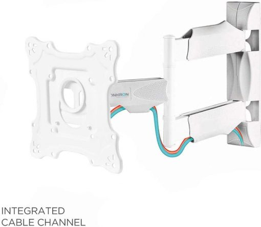 """TV Wall Mount for 17"""" to 43-inch LCD LED Flat Screens Bracket up to 35 kg Full Motion Arm VESA up to 200 x 200 mm NP28 White"""