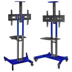 """ONKRON Mobile TV Stand TV Cart for 32"""" – 65 inch Screens up to 45 kg, TS1551 Blue"""