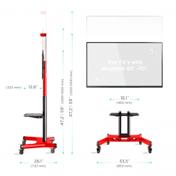"""ONKRON Mobile TV Stand TV Cart for 32"""" – 65 inch Screens up to 45 kg, TS1551 Red"""