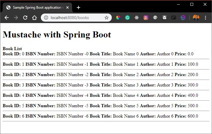 Spring Boot Mustache Output