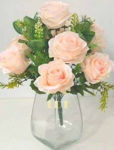 Cream Artificial Diamante Rose Bunch with Euc