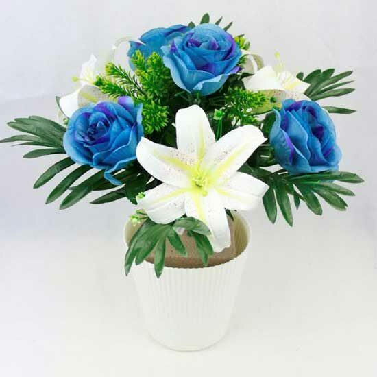 Blue Artificial Rose & Lily Bunch with Plalm Leaves