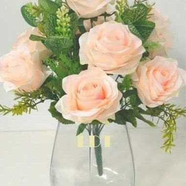 Cream Artificial Diamante Rose Bunch with Euc