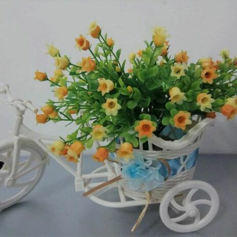 Rattan tricycle with artificial flowers home room office garden patio decor