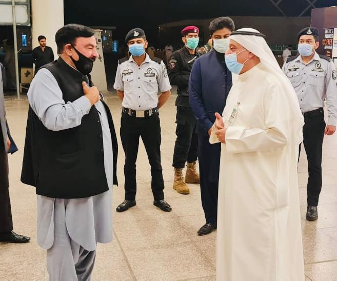 Kuwait's Ambassador in Pakistan His Excellency Mr. Nassar Almutairi seeing off Minister for Interior Sheikh Rashid Ahmed at Islamabad Airport prior to his departure for Kuwait on an official visit.