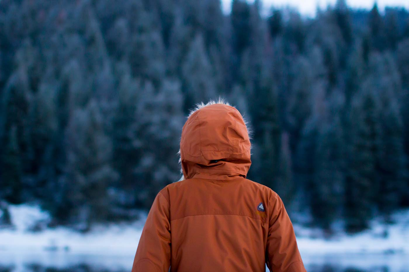 Woman Staring on in a Parka