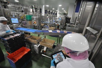 Image of Faccenda Foods processing QA.