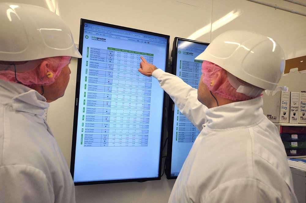 Image of two workers reviewing real-time data on dashboard.