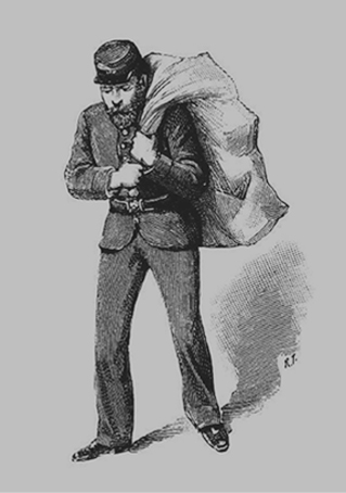 Etching of a postman from the past