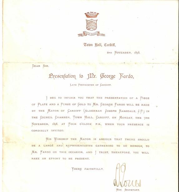 Presentation letter to George Fardo, 1898