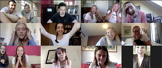 Group of girls responding to onling virtual magic show via zoom