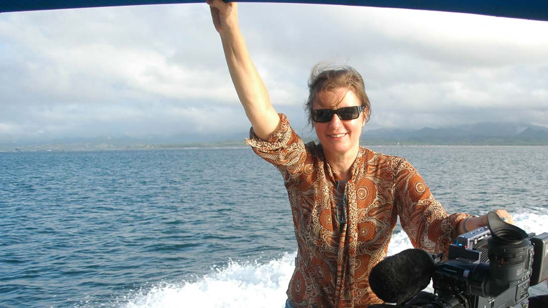 Annie Goldson on a boat