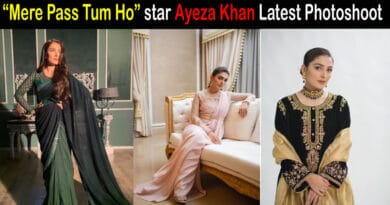 """After celebrating the success of """"Mere Pass Tum Ho"""", Ayeza Khan latest photoshoot in saree increased her fan following."""