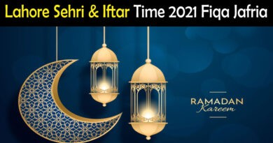 Lahore Sehri & Iftar Time 2021 Fiqa Jafria