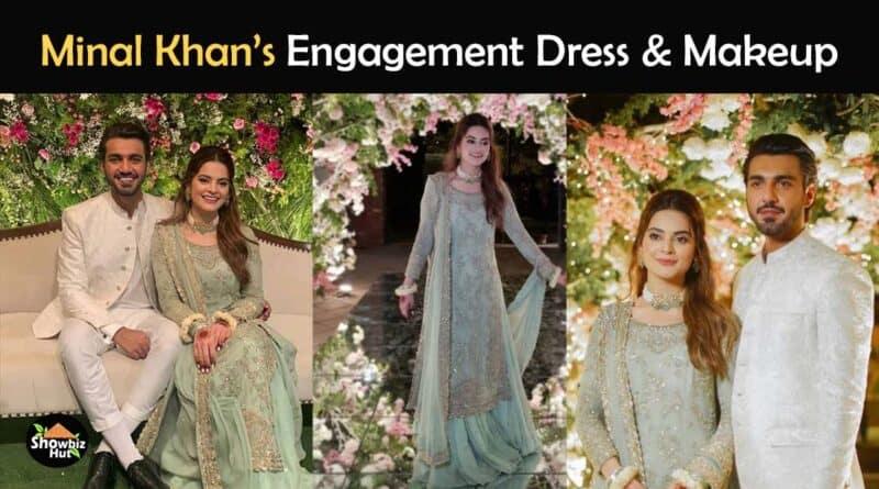 minal khan engagement dress and makeup