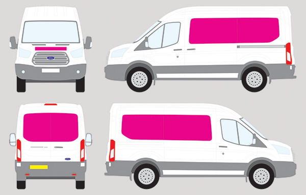 Vehicle wrapping costs showing the area