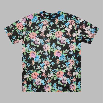 Black/Blue handmade floral t-shirt