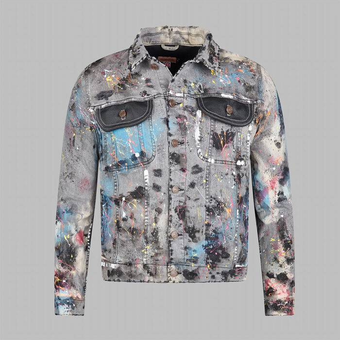 H.O.M Denim Jacket Bleached Dye Distressed