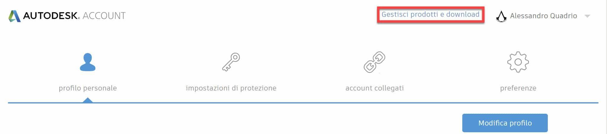 Accesso Autodesk Account