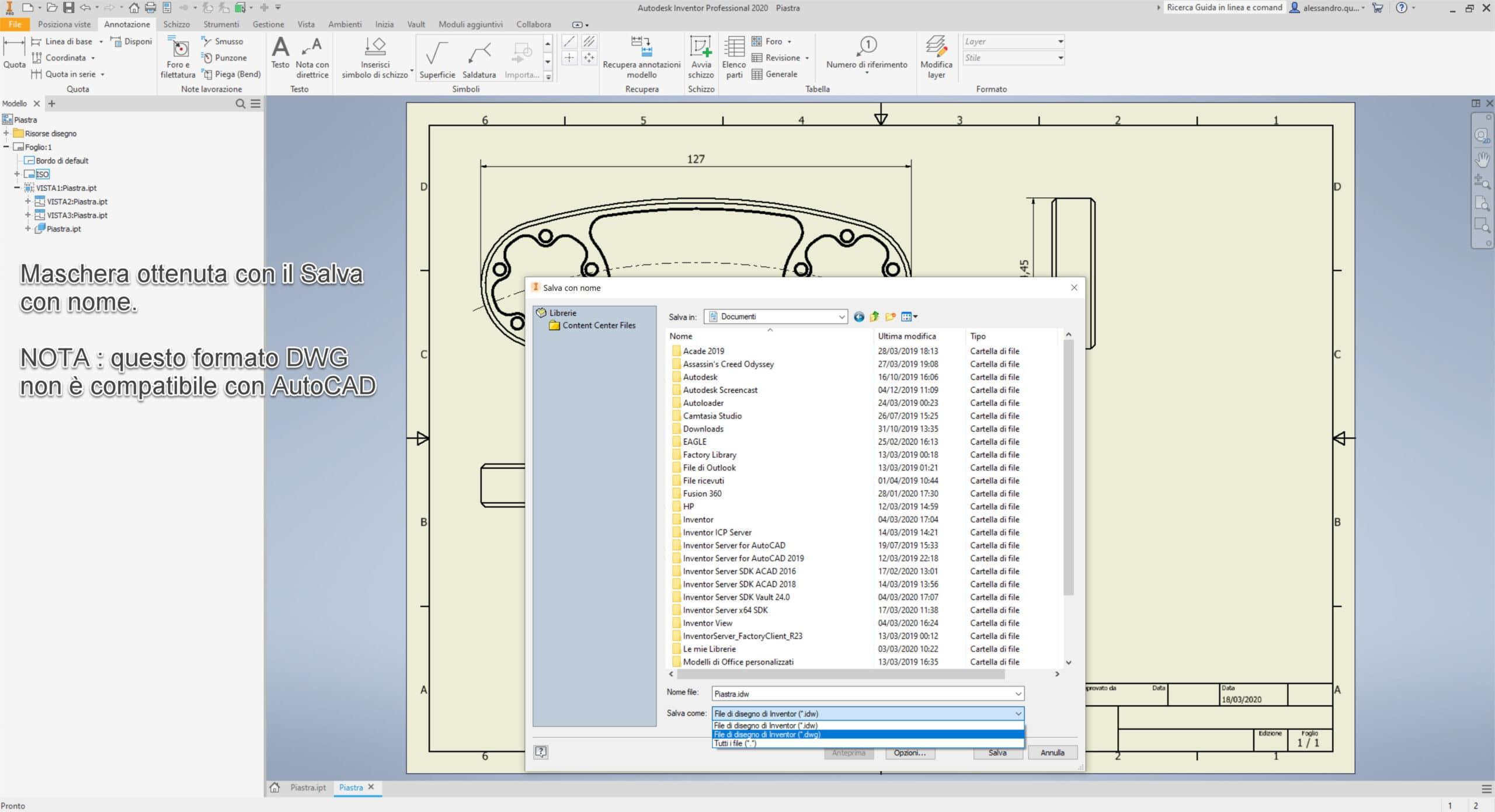 File Inventor DWG o File Inventor IDW Formato IDW in Esplora File