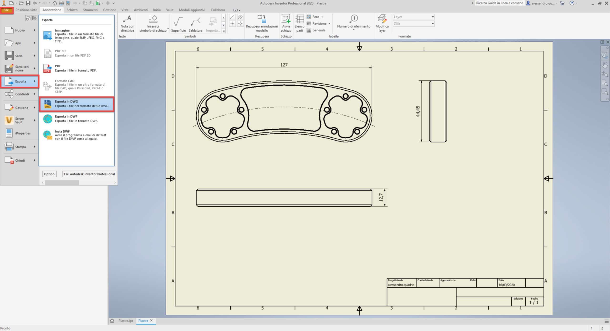 Esportazione Inventor come File DWG di AutoCAD