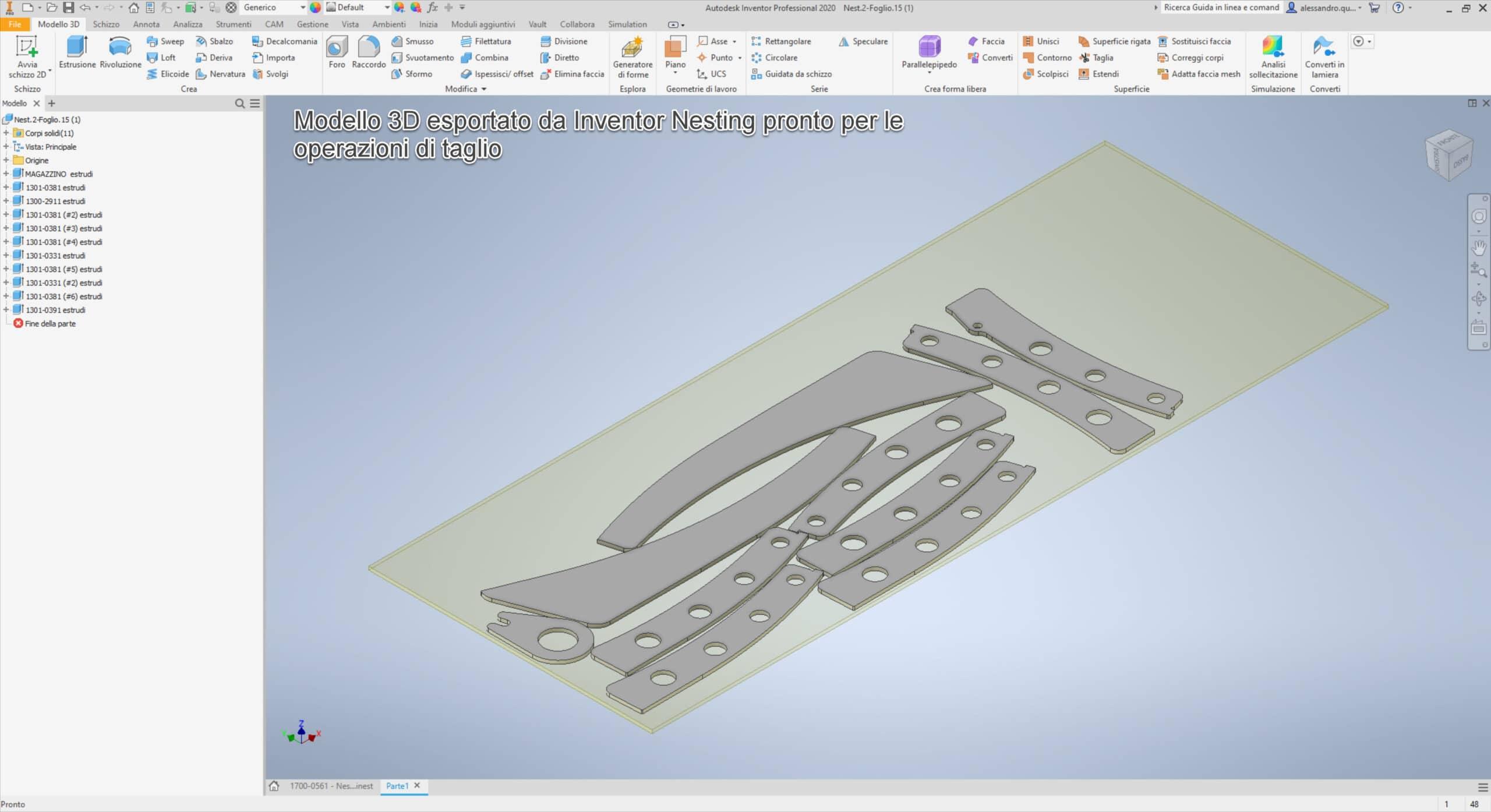 Modello 3D Esportato da Inventor Nesting per Taglio Lamiera